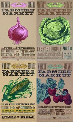 Posters for Tennessee Regional & Organic Farmers' Market Looks very vented and good illustrations! might try something like this for my project.