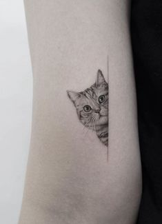 Cat Face Tattoos, Mini Tattoos, Cute Tattoos, Beautiful Tattoos, Small Tattoos, Cat Portrait Tattoos, Wolf Tattoos, Tattoo Drawings, Animal Tattoos For Women