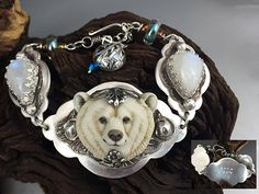 Spirit Bear Sterling Silver  Porcelain bear custom by LandSArts