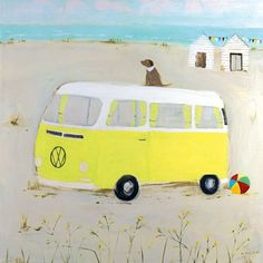 Yellow Camper Art Greeting Card By Hannah Cole | Whistlefish Galleries