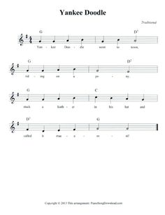 Lead Sheet for Yankee Doodle, free to download and print.