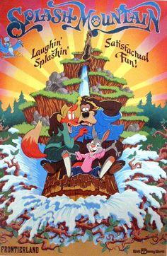 Splash Mountain ~ Walt Disney World, Magic Kingdom l Lake Buena Vista, Florida Posters Disney Vintage, Disneyland Vintage, Disneyland Rides, Disney Rides, Disney Parks, Walt Disney World, Orlando Disney, Disney Wiki, Disneyland California