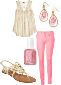 So dainty but the hot pink jeans keep it grounded. Summer outfits Teen fashion Cute Dress! Clothes Casual Outift for • teens • movies • girls • women •. summer • fall • spring • winter • outfit ideas • dates • school • parties mint cute sexy ethnic skirt