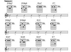 Further reharmonization of a twelve bar progression in G. In-depth theory, professional transcriptions, video guitar lessons. Jazz Guitar Chords, Music Theory Guitar, Music Chords, Guitar Sheet Music, Guitar Songs, Guitar Tabs, Classical Guitar Lessons, Jazz Guitar Lessons, Guitar Classes