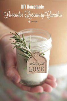 DIY rosemary lavender candles. #gift #handmade #candles