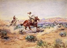 Charles M. Russell Roping a Wolf oil painting reproduction  WHO WOULD ROPE A WOLF????????????