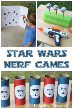 Wars Themed Nerf Games Three Star Wars themed Nerf games - these would be great for a party, or for a rainy day.Three Star Wars themed Nerf games - these would be great for a party, or for a rainy day. Disney Party Games, Kids Party Games, Star Wars Party Games, Star Wars Birthday Games, Disney Themed Games, Girls Star Wars Party, Disney Parties, Parties Food, Fun Games