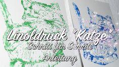 Linolschnitt / Linoldruck Anleitung / Motiv Katze / Idee Linolschnitt