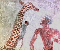 A detail of a wall painting in the tomb of Rekhmire showing Nubians bringing a giraffe and long horned cattle as tribute, A monkey is climbing up the giraffes neck. Egypt. Ancient Egyptian. 18th dynasty c 1425 BC. Sheikh Abd el Qurna, West Thebes.