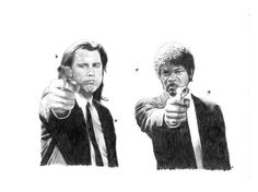 PULP FICTION pencil drawing by Cultscenes on Etsy
