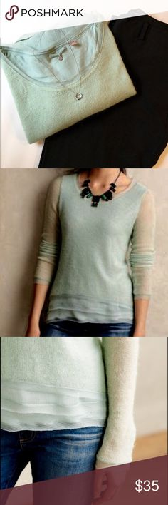Anthropologie Knitted&Knotted Mint Irina Sweater ✔️Mint Tier Layer Sweater from Anthropologie ✔️Thin Weight ✔️Excellent Used Condition Anthropologie Sweaters
