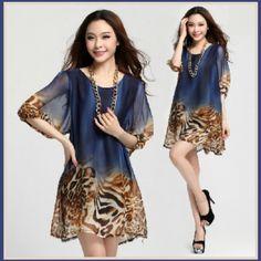 61.95$  Buy here - http://viiyl.justgood.pw/vig/item.php?t=iduozwu49960 - Leopard Print Painted Sheer Chiffon Maternity Mini Dress 3 Colors 3 Sizes 61.95$