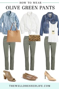 Wellness How to Wear Your Olive Green Pants - The Well Dressed Life - Finding an alternative to our everyday jeans is a challenge. So today we're showing you how to wear olive green pants three easy ways. Casual Work Outfits, Jean Outfits, Cute Outfits, Women's Casual, Gym Outfits, Casual Clothes, Stylish Mom Outfits, Casual Mom Style, Preppy Fall Outfits