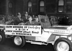 Crew members of the 'Enola Gay,' the American bomber that dropped the atomic bomb on Hiroshima, areparaded through New York City on April Atomic Bomb Hiroshima, First Atomic Bomb, Hiroshima Bombing, Pictures Of America, Enola Gay, Bomb Shelter, Army Day, Nagasaki, Atomic Age