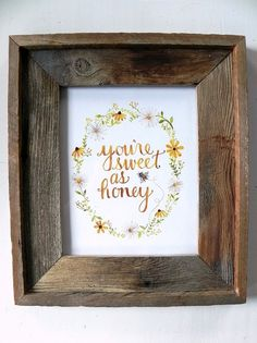 Honeybee Art Print/ Kitchen Art/ Sweet as Honey Watercolor- 8x10