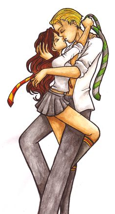 Hermione-Draco... Kiss me by ~Kit-Kat-Choco on deviantART