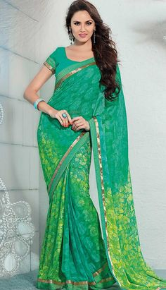 Get Online Beautiful Indian Rama Green Georgette #PrintedSaree  #Price INR- 2519 Link-http://alturl.com/b6t5w