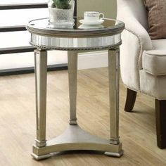 Monarch Round Mirrored Accent Table - End Tables at Hayneedle