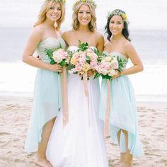 light blue bridesmaid dresses {Photo By:Mariel Hannah} Light Blue Bridesmaid Dresses, Beach Wedding Bridesmaid Dresses, Beach Wedding Bridesmaids, Blue Bridesmaids, Wedding Dress Trends, Wedding Attire, Wedding Gowns, Wedding Ideas, Wedding Beach
