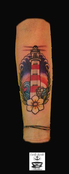 traditional tattoo #old school tattoo #tattoo idea #light house tattoo #light…