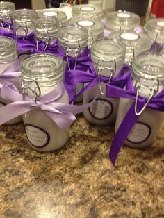Lavender hand scrub.  Crazy easy-fill container 3/4 full of sugar,add Olay hand moisturizing soap-stir and done.  These were favors at the  baby shower!!