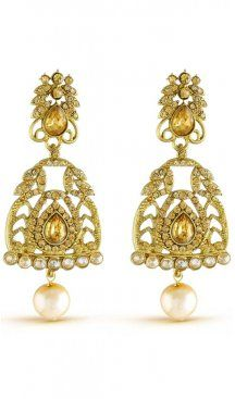 Bold vintage yellow stone with pearls bridal wear earrings. Gives you a classic look by attiring this earrings. Having material brass with studded stone, american diamonds and pearls. Offered with a set of earring. Sapphire Earrings, Stone Earrings, Women's Earrings, Pearl Chandelier, Chandelier Earrings, Pearl Cream, Diamond Design, Fashion Earrings, Blue Sapphire