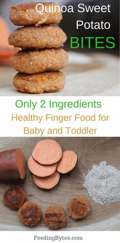 Sweet Potato Quinoa Bites – Feeding Bytes Quinoa sweet potato bites: Only 2 ingredients, nutritious and easy to prepare finger food for babies and toddlers. Makes a great baby led weaning recipe and nutritious toddler snack. From Feeding Bytes Sweet Potatoe Bites, Quinoa Sweet Potato, Potato Bites, Sweet Potato Recipes, Baby Food Recipes, Snack Recipes, Baby Sweet Potato Recipe, Recipes For Babies, Healthy Recipes