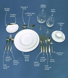 The Lost Art Of Table Manners – Dinner Etiquette How to set a table properly. Comment Dresser Une Table, Make It Easy, Dining Etiquette, Etiquette Dinner, Table Setting Etiquette, Etiquette And Manners, Table Manners, Tips & Tricks, Deco Table