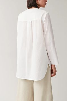 ROUNDED COTTON SHIRT - white - Shirts - COS New Year Wishes, Box Pleats, White Shirts, Cos, Cover Up, Bell Sleeve Top, Women Wear, Sleeves, Model