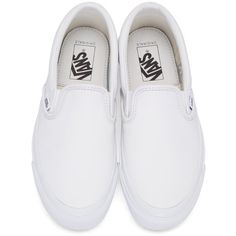 Vans White OG Classic Slip-On Sneakers ($84) ❤ liked on Polyvore featuring shoes, sneakers, slip-on sneakers, rubber sole shoes, vans trainers, white slip on sneakers and white shoes