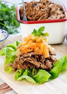 These Slow Cooker Asian Pulled Pork with Pickled Vegetables in Lettuce Cups is a fast recipe you can cook up when you're low on time! Simply throw all of the ingredients into your slow cooker and cook for 12-14 hours. #GlutenFreeRecipes #AsianRecipes #SlowCookerMeal Pork Recipes, Slow Cooker Recipes, Asian Recipes, Ethnic Recipes, Sauce Recipes, Healthy Soy Sauce, Gluten Free Soy Sauce, Asian Bbq Sauce, Barbecue Pork Ribs