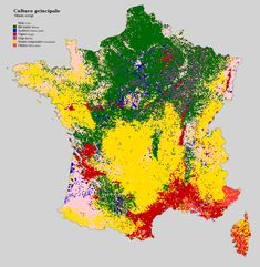 Agricultural land use in France Non-agricultural land use (like silviculture and urban areas) which were not included in the dataset are just shown using the colour of the closest agricultural land (hence Paris is corn). Agricultural Land, Land Use, Old Maps, This Is Us, Abstract, Dire, Alsace, Agriculture, Geography