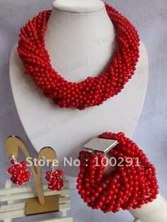 Very Very Nice Beatiful African Wedding Bridal Red Coral Jewelry Set necklace bracelet and earrings set