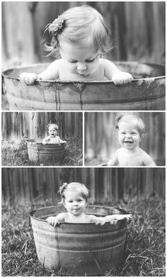 9 month old pictures Galvanized tub Baby Summer Baby Pictures, 3 Month Old Baby Pictures, 6 Month Baby Picture Ideas, Milestone Pictures, Baby Girl Pictures, Baby Boy Photos, Newborn Pictures, Baby Girl Photography, Birthday Photography