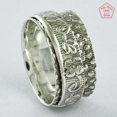 Sz 8.5 US, EMBOSSED DESIGN 925 STERLING SILVER SPINNER RING, R4408 #SilvexImagesIndiaPvtLtd #Spinner #AllOccasions