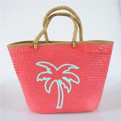 New aquatic grass woven straw bag coconut tree pattern beach vacation bulk bag (Model) Luggage Sizes, Fabric Textures, Tree Patterns, Fashion Handbags, Straw Bag, Weaving, Gender, Coconut, Shape