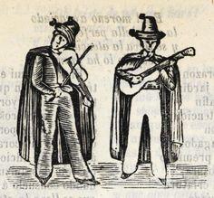 Xilografía en cabecera con 2 figuras de hombres de pie y con sombrero, uno tocando el violín y el otro tocando la guitarra.