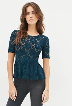 Textured Lace Peplum Top | FOREVER21 - 2000102609 in black