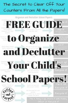 Free Printable to organize papers at home and get rid of the clutter. Kids bring home so much paperwork from schools. Clear of your kitchen counters with these simple free printables at www.coffeeandcarpool.com