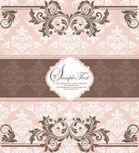 Cartão do convite do damasco vintage rosa — Vetor de Stock