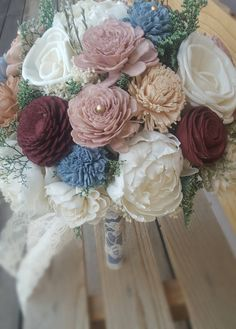 Ready to Ship Burgundy, Dusty Blue, Dusty Pink Mauve Rose Gold Wedding Bridal Bouquet Sola Flowers and dried Flowers Keepsake by StellaDesignsShop on Etsy https://www.etsy.com/listing/523057779/ready-to-ship-burgundy-dusty-blue-dusty