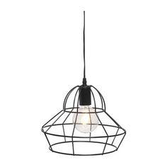 Hanglamp metaaldraad rond/taps zwart