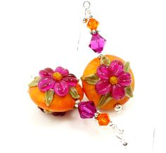 Hey, I found this really awesome Etsy listing at https://www.etsy.com/listing/164051816/floral-earrings-pink-orange-earrings