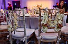 Bride and Groom's floral letters with Majolica Spray Roses and Amnesia Roses, hang on the back of the bride and groom chairs. {Design: TableArt | Photo: Marie Labbancz}