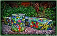 mosiac garden art   Mosaic Garden Seat