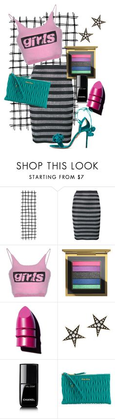 """""""hey let's party"""" by daniellededwards ❤ liked on Polyvore featuring Alexander Wang, MAC Cosmetics, Anastasia Beverly Hills, London Road, Chanel, Miu Miu and Aquazzura"""