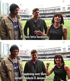 [gifset] An embarrassed Jensen and Jared. Adorable :) #NerdHQ13 #SDCC13