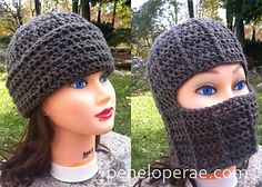 This unisex hat is very comfortable and easy to make! Can be folded up into a hat or down to cover your face like a ski mask.