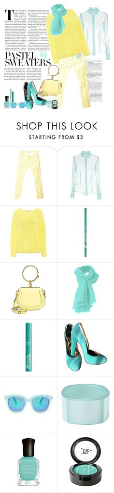 """""""Pastel Sweaters"""" by marionmeyer ❤ liked on Polyvore featuring BA&SH, CAPRI, Mansur Gavriel, Chloé, NYX, Just Cavalli, Forever 21, First People First, Deborah Lippmann and Beauty Is Life"""