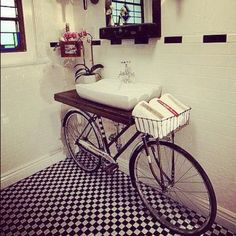 Bicycle & basin: nice way to reuse an old bike. Posted by gioxsi on instagram — http://instagr.am/p/LYvrGjmEsT/